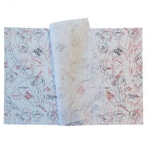 Levertijd ca. 4 weken Vloeipapier 50x70cm 30 grams 2 kleuren bedrukt
