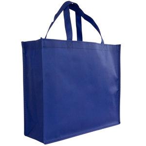 Levering uit voorraad Shopper Blauw non woven 42x12x35cm