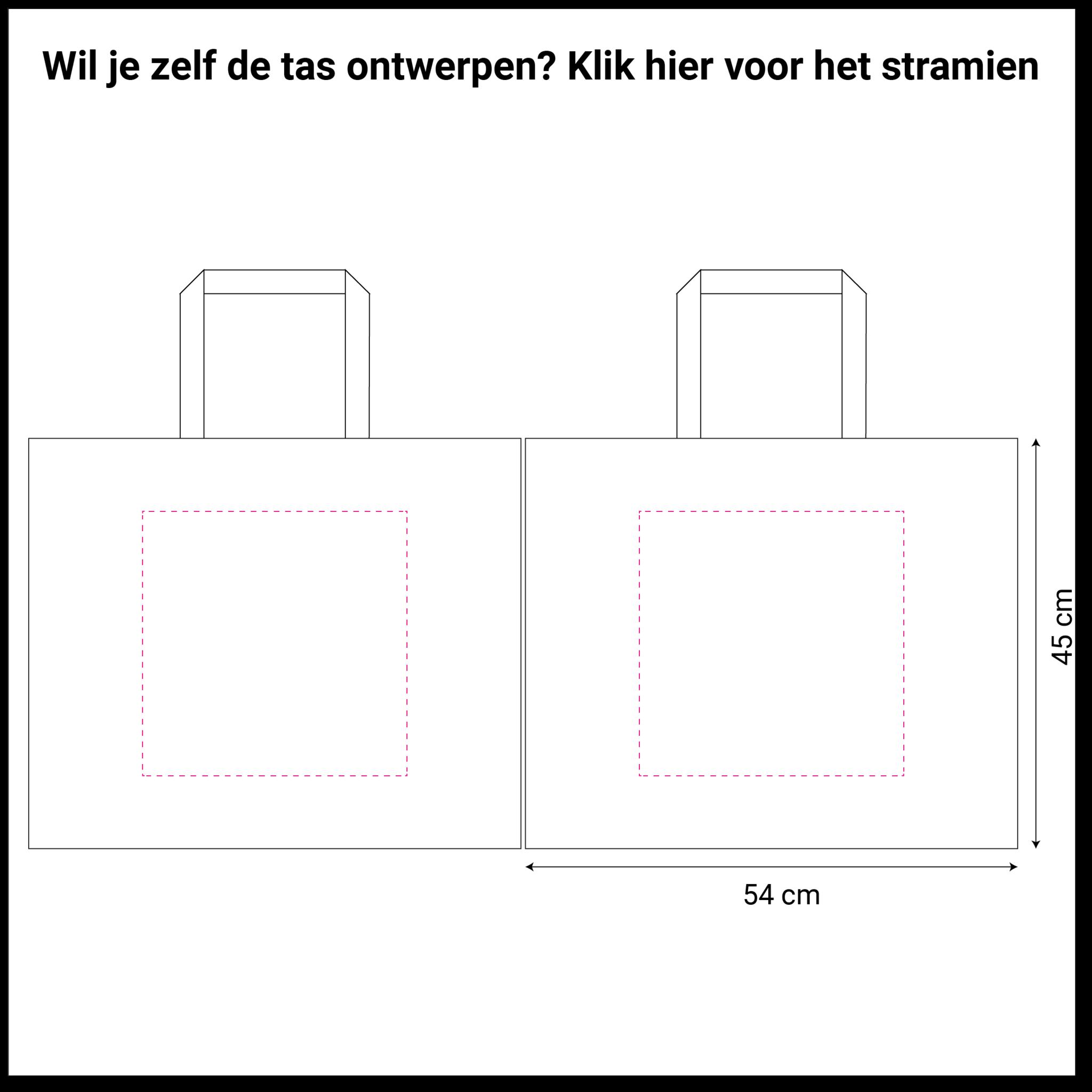 tekening blauwe non woven shopper 54x14x45cm