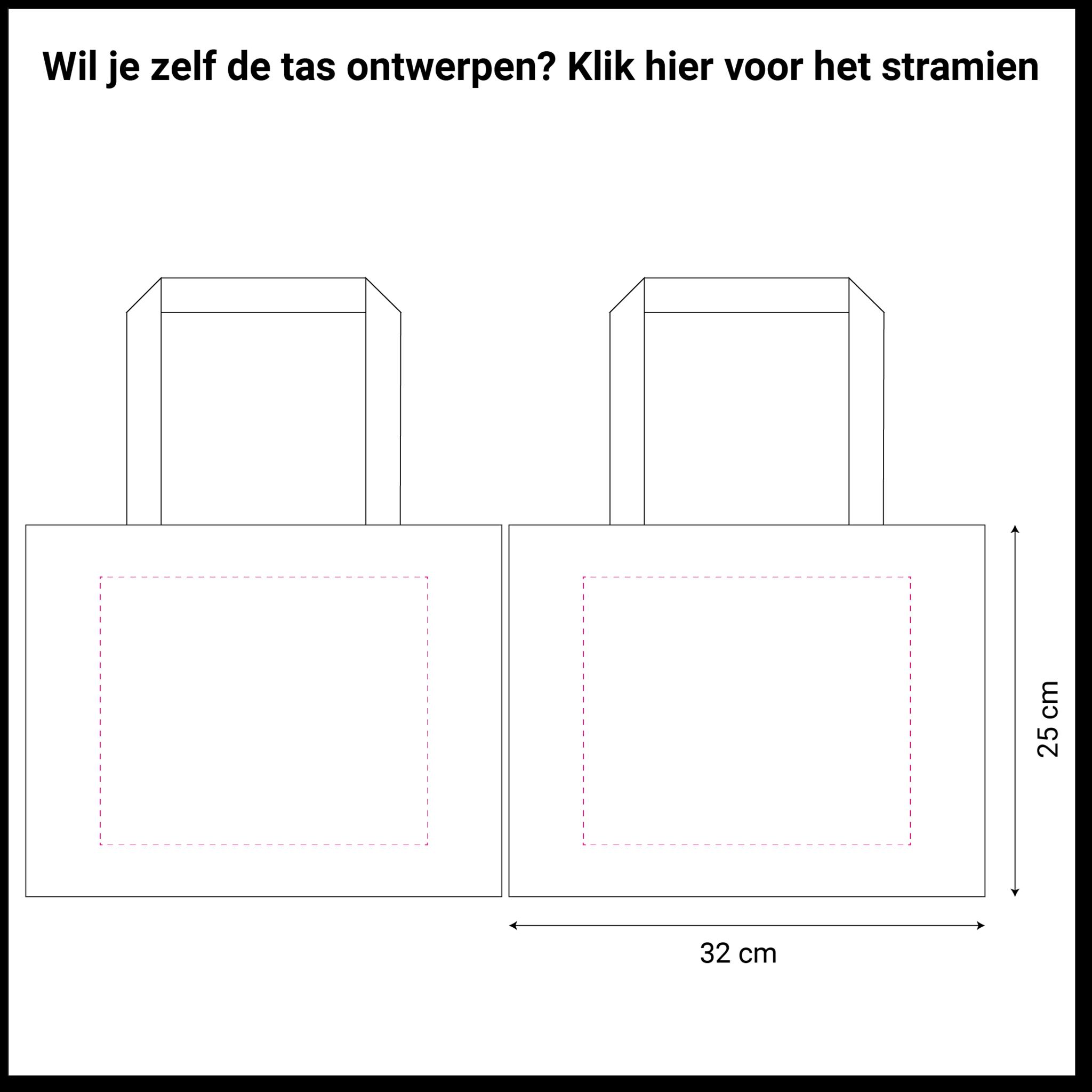 tekening zwarte non woven tas