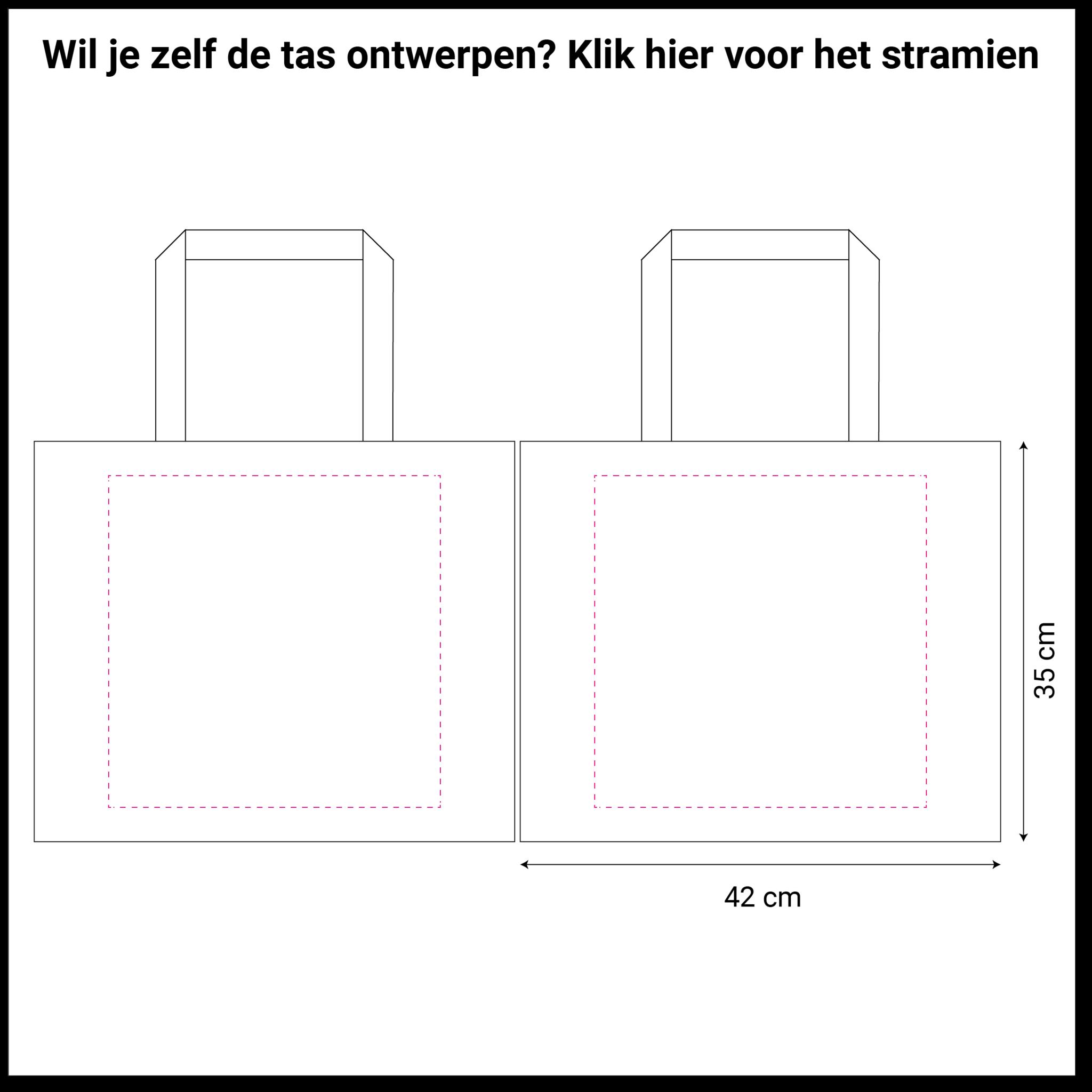 tekening rode non woven shopper 42x12x35cm