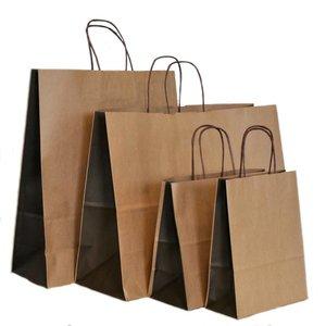 Levering uit voorraad 50 x Papieren tassen bruine kraft bio color bruin