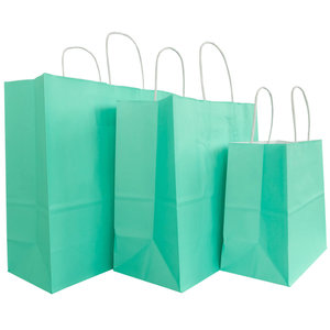 Levering uit voorraad 50x papieren tassen Aqua