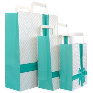 Levering uit voorraad 50x papieren tassen Strik aqua