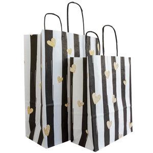 50x papieren tasjes Zwart-Wit met Hartjes