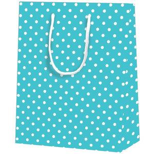 25x cadeautasjes Blauw met witte nop A5
