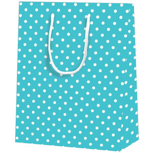 25x cadeautasjes Blauw met witte nop A4