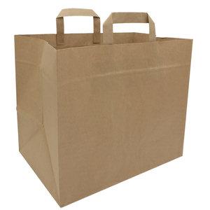 Levering uit voorraad 50x papieren tasjes Bruin met extra brede bodem