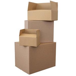 Levering uit voorraad Kartonnen dozen bruin enkelgolf 305x220x100mm