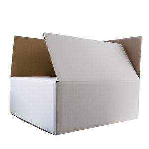 Levering uit voorraad Kartonnen dozen wit dubbel golf 430x380x105mm