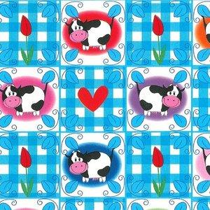 Levertijd ca. 3 werkdagen Inpakpapier Blauw/wit Koeien 50cm x 250mtr