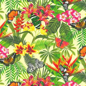 Levertijd ca 3 werkdagen Inpakpapier Jungle Bloemen vlinders 50cm x 200mtr