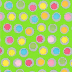 Levertijd ca. 3 werkdagen Inpakpapier Groen + multicolour stippen 50cm x 200mtr