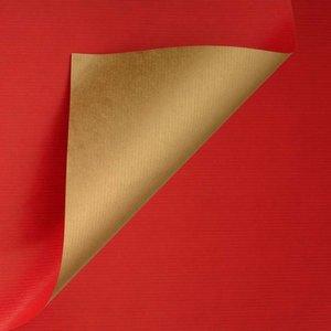 Levertijd ca. 3 werkdagen Inpakpapier Rood + Goud 50cm x 200mtr
