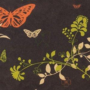 Levertijd ca. 3 werkdagen Inpakpapier Bruin + vlinders en bloemen 50cm x 200mtr