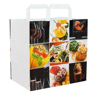 50x papieren tasjes Fine Food 26x17x25cm