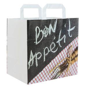 Levering uit voorraad 50x papieren tasjes Bon Appetit 26x17x25cm