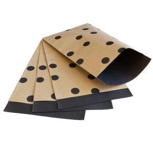 200x papieren zakjes Bruin kraft Stippen 12x19cm