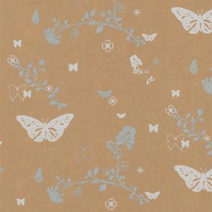 Levertijd ca. 3 werkdagen Inpakpapier Bruin + bloemen en vlinders 50cm x 200mtr