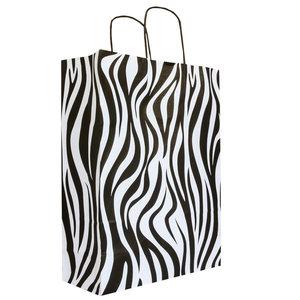 50x papieren tasjes Zebra 32x12x41cm
