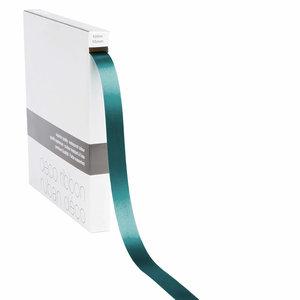 Levering uit voorraad Lint satijn Petrol Groen MEDIUM (15mm x 100m)
