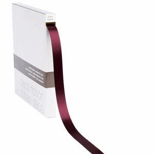 Levering uit voorraad Lint satijn Bordeaux Rood MEDIUM (15mm x 100m)