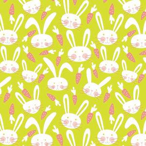 Levertijd ca. 3 werkdagen Inpakpapier Groen + konijnen 50cm x 200mtr