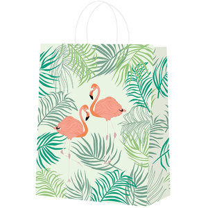 25x papieren tasjes Flamingo A5