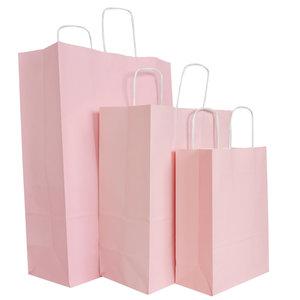 50x papieren tassen Licht roze in diverse formaten
