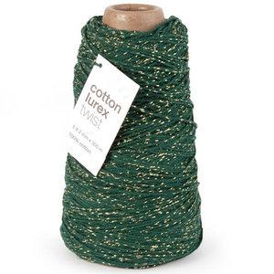 Levering uit voorraad Katoenen touw Donker groen met goud 2mm x 300m