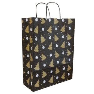 50x papieren Kersttasjes  A3  Zwart-Goud