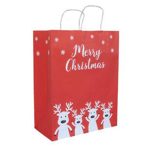 50x papieren Kersttasjes  A4  Merry Christmas