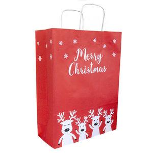50x papieren Kersttasjes  A3  Merry Christmas