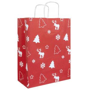 50x papieren Kersttasjes A4 Rood-Wit