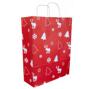 50x papieren Kersttasjes  A3  Rood-Wit