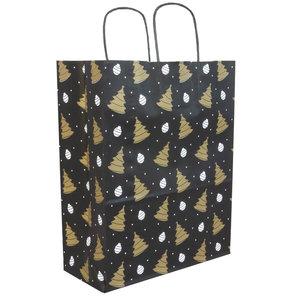 50x papieren Kersttasjes  A4  Zwart-Goud
