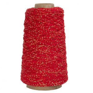 Levering uit voorraad Katoenen touw Rood met goud 2mm x 300m
