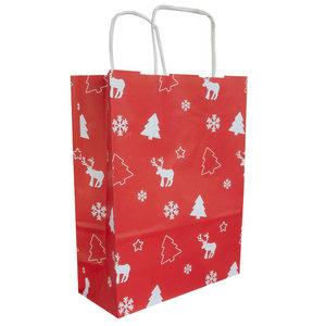 50x papieren Kersttasjes  A5  Rood-Wit
