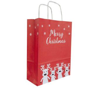 50x papieren Kersttasjes  A5  Merry Christmas