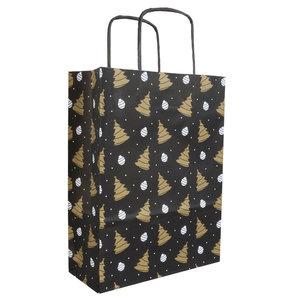 50x papieren Kersttasjes  A5  Zwart-Goud