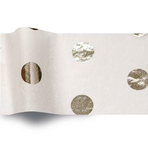 Levering uit voorraad Vloeipapier 50x76cm Wit met zilveren stippen