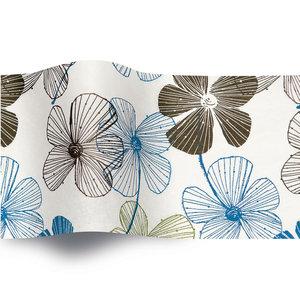 Levering uit voorraad Vloeipapier 50x76cm Bruine en blauwe bloemen