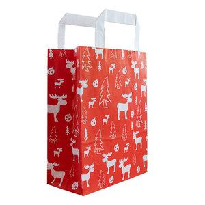Levering uit voorraad 50x papieren Kersttassen Rood/wit A5