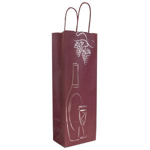 Levering uit voorraad 50x wijntas Bordeaux + Zilver 14x8,5x39,5cm