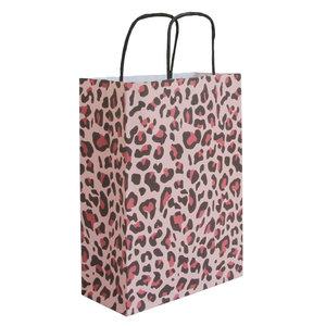 Levering uit voorraad 50x papieren tasjes Luipaard Roze A5