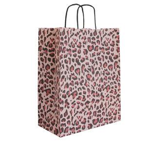 Levering uit voorraad 50x papieren tasjes Luipaard Roze A4