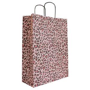 Levering uit voorraad 50x papieren tasjes Luipaard Roze A3