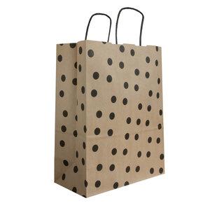 Levering uit voorraad 50x papieren tasjes Bruin + Zwarte stippen A4