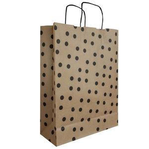 Levering uit voorraad 50x papieren tasjes Bruin + Zwarte stippen A3