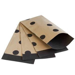 Levering uit voorraad 200x papieren zakjes Bruin kraft Stippen 7x13cm